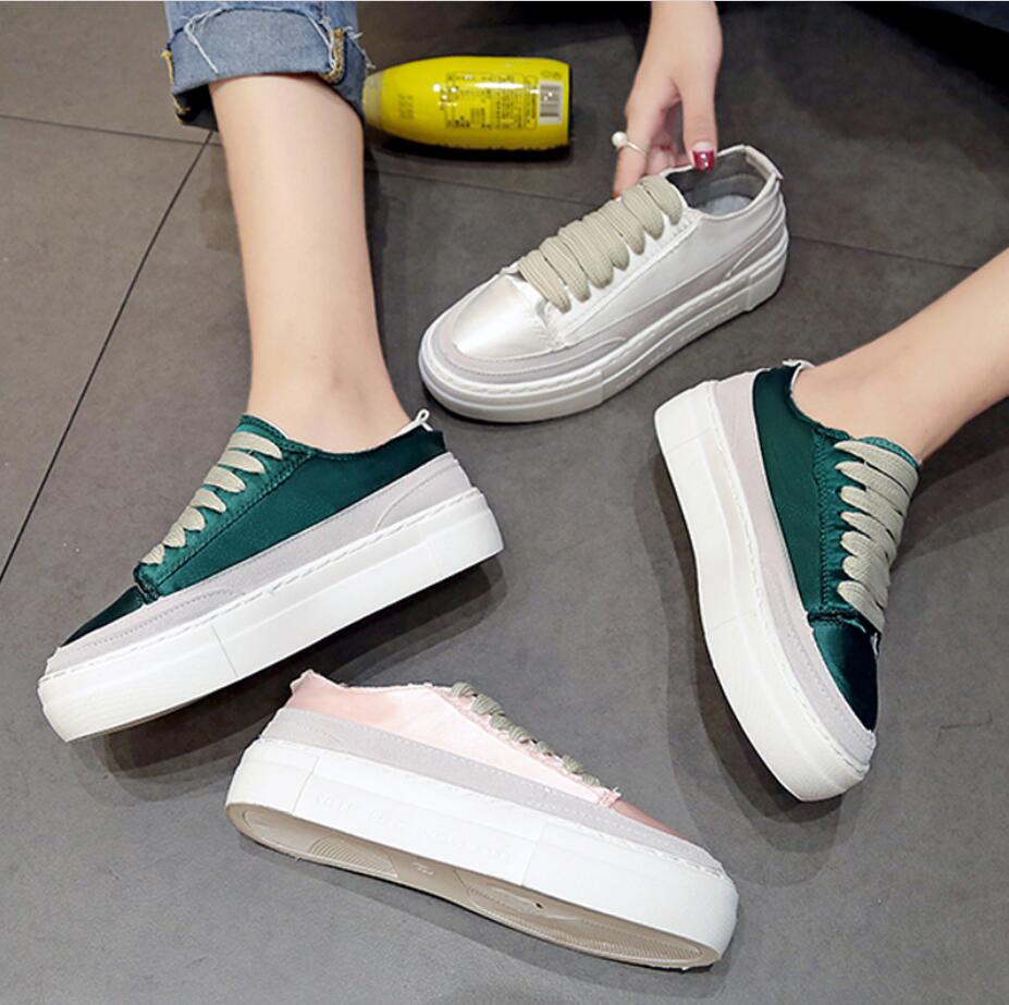 XWWDVV Spain niche shoes casual versatile canvas shoes new thick bottom flat white shoes women 42