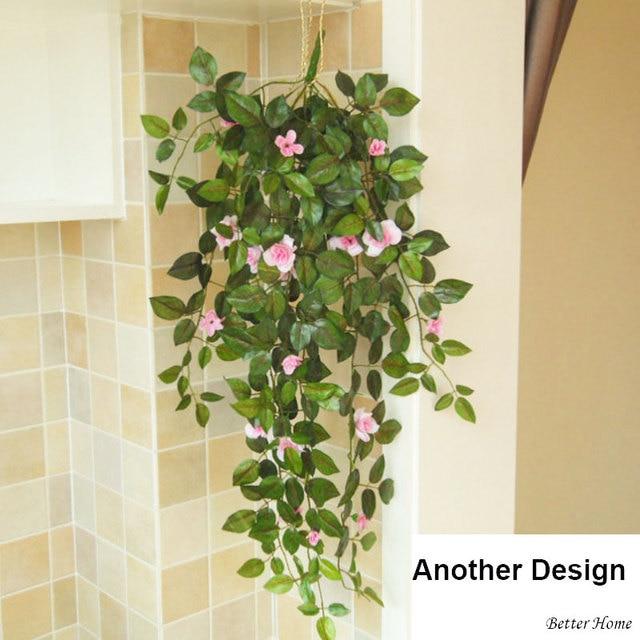artificial verde plantas con flores con hierro cestas colgantes macetas puerta interior decoracin flores coronas decoracin - Plantas Verdes De Interior