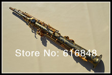 B(B) Tune B Flat Soprano Straight Pipe Saxophone 54 Black Nickel Gold Grinding Placer Gold Key Sax