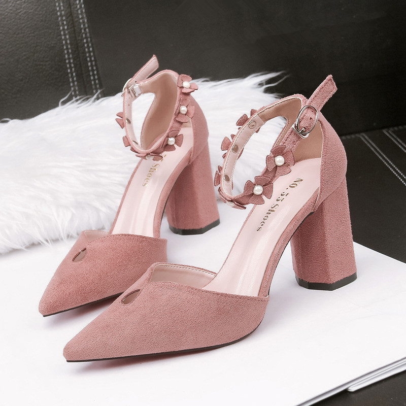 Fashion Sexy Shoes Ladies Sandals Summer 2019 Floral Block Heels Pointed Toe Sandals Women High Heel Sandal For Office Pink