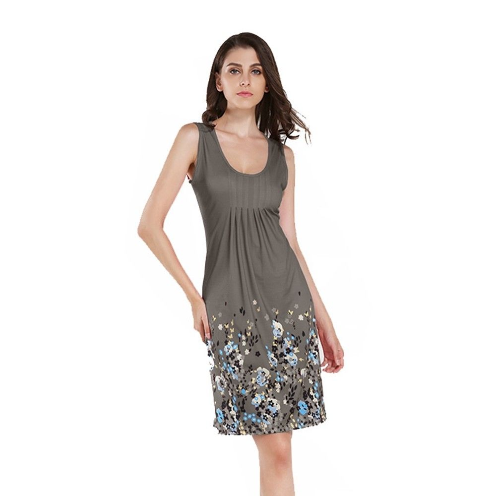 Grey milk silk elastic polyester women dresses casual loose sleeveless Short Knee Length Summer dress Floral beautiful item gift
