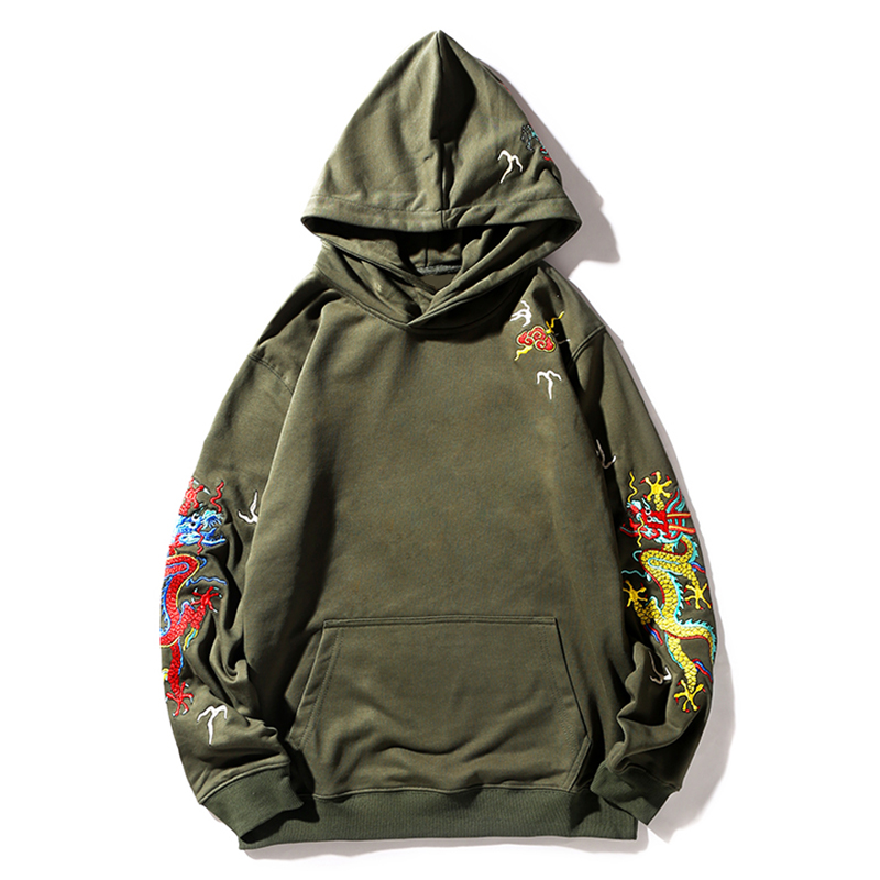 HISTREX Chinese Dragon 100% Cotton Army Men Hoodies Women Printing Sweatshirts Felpe Homme Skateboards Outerwear Hoodie UEX79#