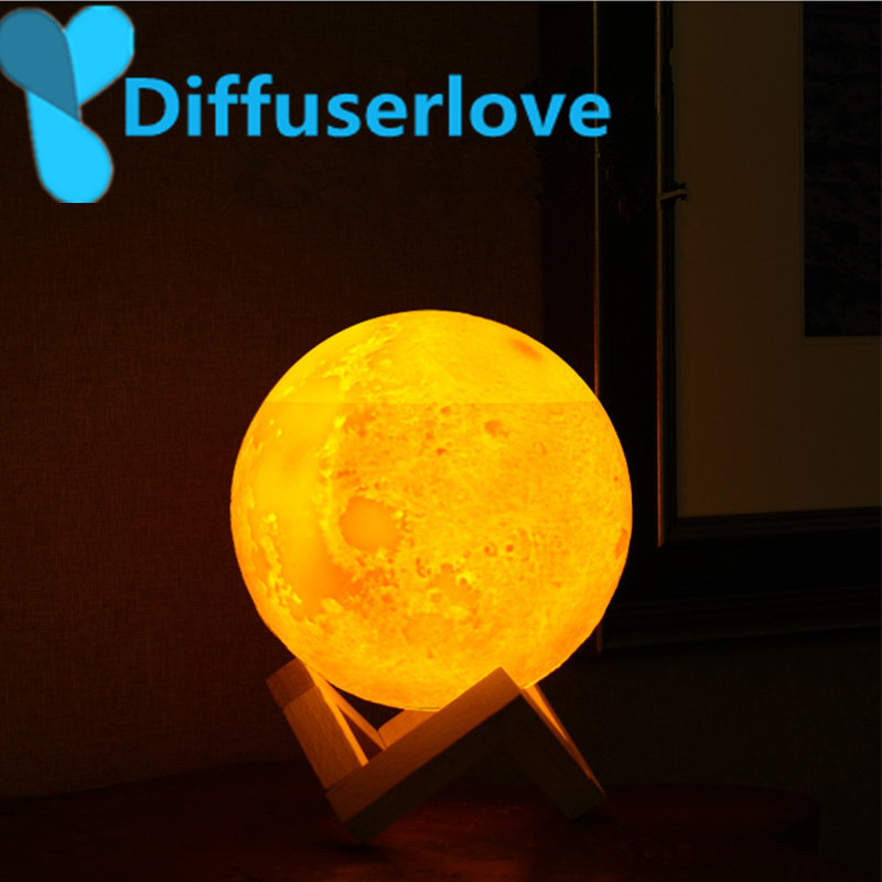 Diffuserlove 880ml Air Humidifier 3D Moon Moonlight Diffuser With 3Color Changing Night Light USB Humidifier Mist Maker For Home