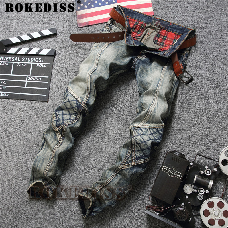 Skinny biker jeans men 2017 Spring Autumn New Tide male patch Hole Motorcycle Splicing Retro warm  Straight pants dsq C156