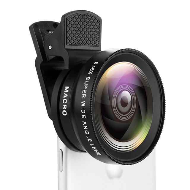 2 פונקציות טלפון נייד עדשת 0.45X רחב זווית לן & 12.5X מאקרו HD מצלמה עדשה אוניברסלי עבור iPhone אנדרואיד טלפון
