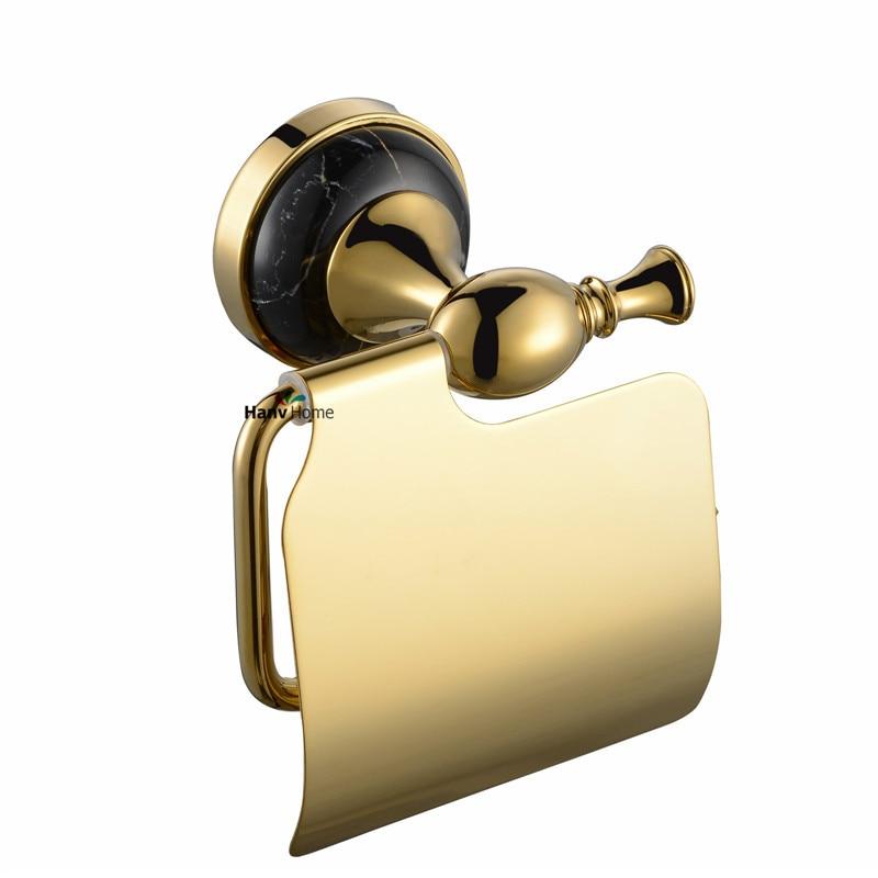 ФОТО luxury marble & zinc-alloy gold paper holder paper box roll holder golden toilet  tissue box  Bathroom Accessories 031B