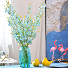 1pcs Artificial Dancing Orchid Flowers Pink/White/Blue/Yellow Butterfly For Decor Silk Flower Branch Fake