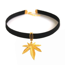 """5PCS Black Flat Faux Suede Leather Cord Pot Gold Weed Leaf Charm 13"""" Choker Necklace Collares Gothic"""