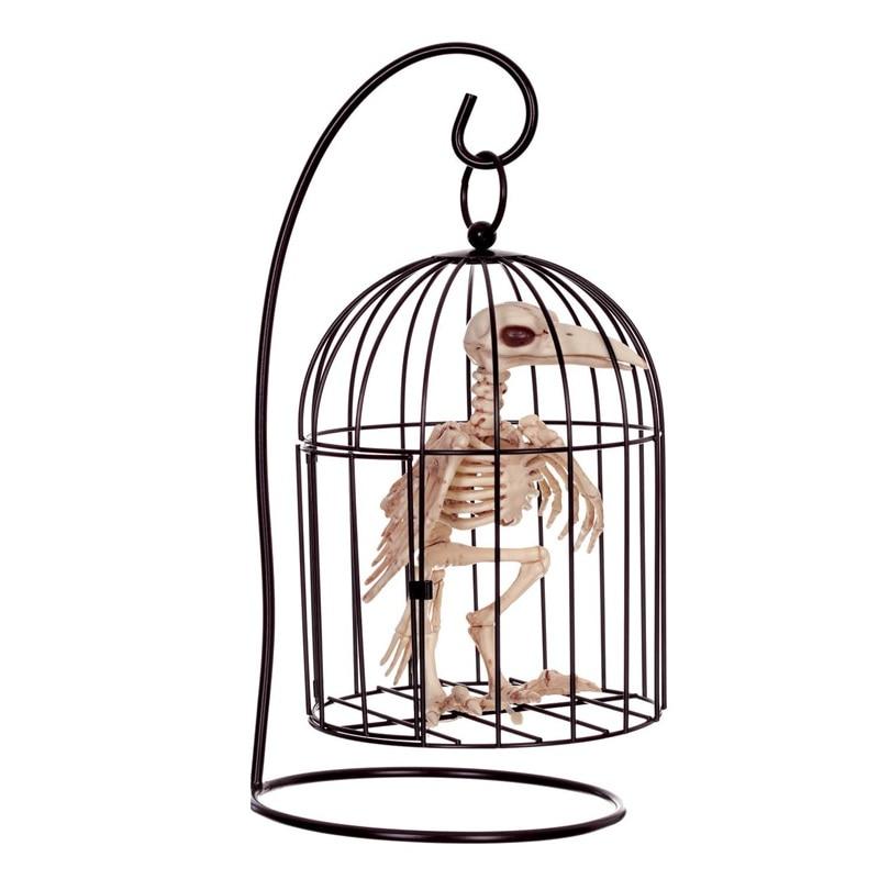 Fantaisie vie Fun os squelette corbeau corbeau en Cage en plastique animaux squelette os pour horreur Halloween décoration