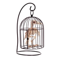 Fantasy Life Fun Bone Skeleton Raven Crow in Cage Plastic Animal Skeleton Bones for Horror Halloween Decoration