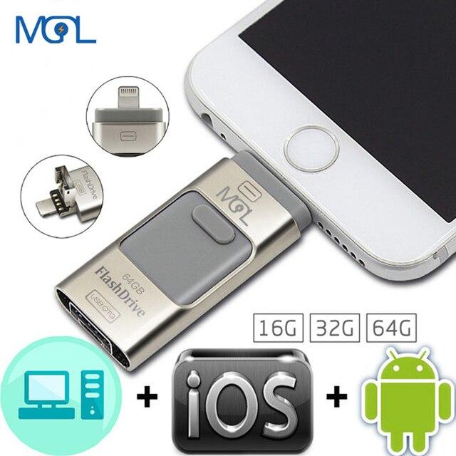Usb OTG Flash Drive 8 GB 16 GB 32 GB 64 GB Pen drive de HD externo memória de armazenamento da vara Para o iphone 6 6 s Plus 5 5S ipad Pendrive