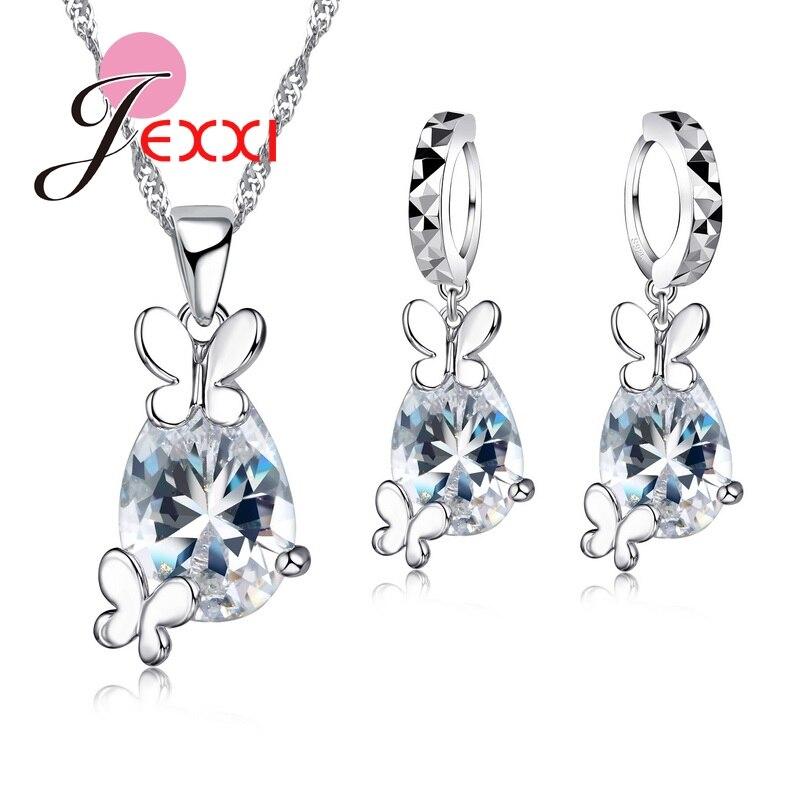 Lovely Butterfly CZ Crystal Wedding Jewelry Set Gem Drop Water Pendant Necklace Earrings Set925 Sterling Silver