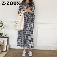 Z ZOUX Dress Women Long Shirt Dress Retro Plaid Single Breasted Loose Cotton 2018 Summer Short Sleeve Dresses Womens Casual