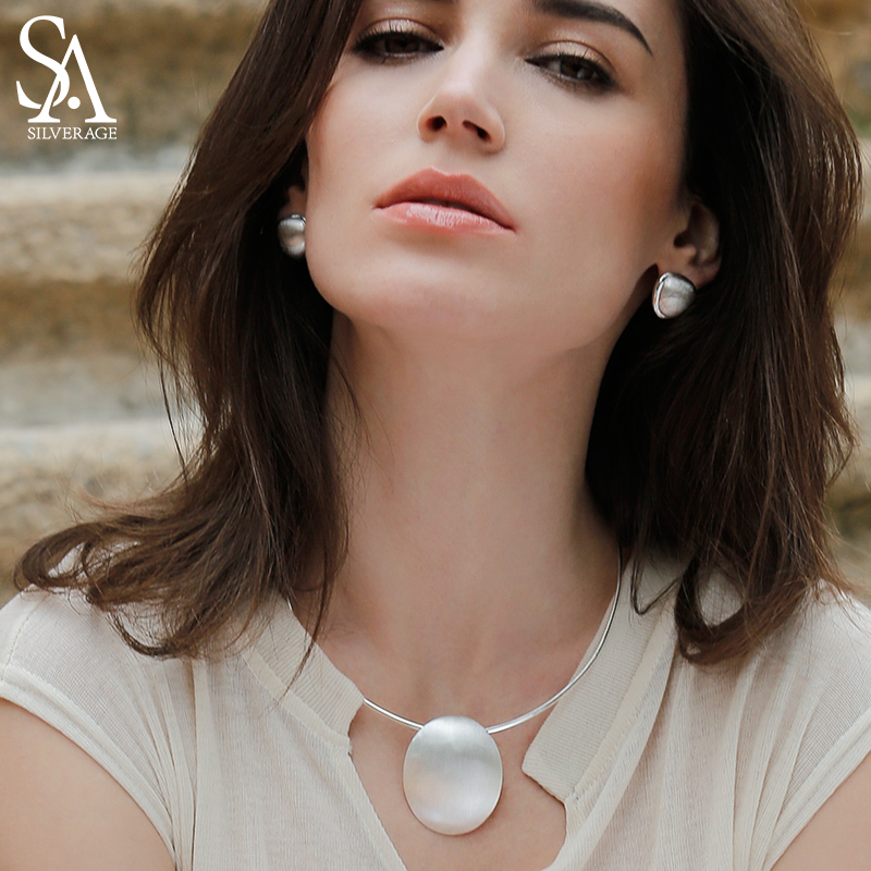 SA SILVERAGE 925 argent Sterling collier tour de cou ovale sautoir bijoux fins pour femmes collier femme 8.81g/35mm * 44mm