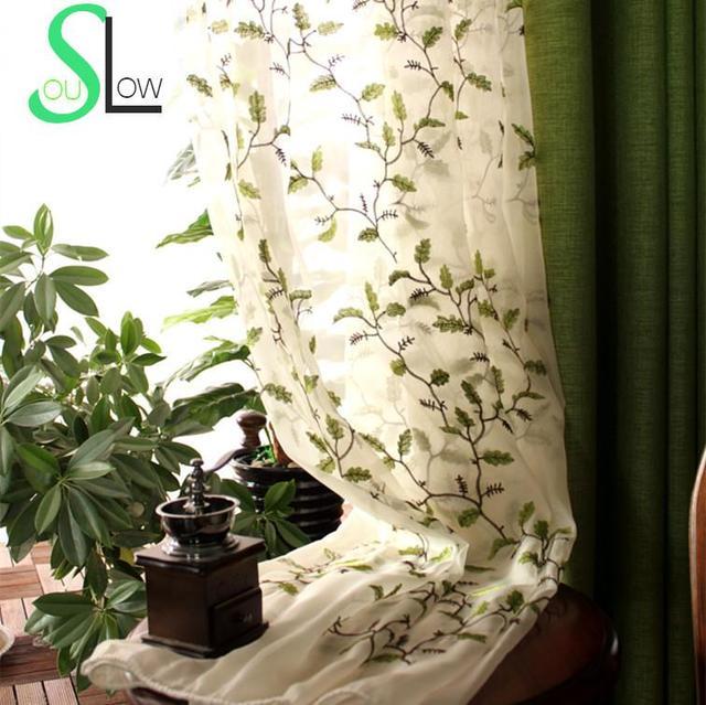 אמריקאי סגנון עלים רקום וילון חלון Tull Volie מסך וילונות עבור שינה Cortinas Para Sala De Luxo CL 86