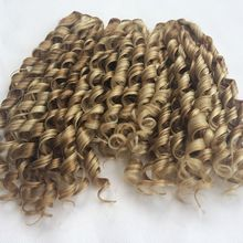 Heat resisting cheap curly synthetic weave curly weave hair 3 bundles/lot 150g half hand made easy to comb wz-379