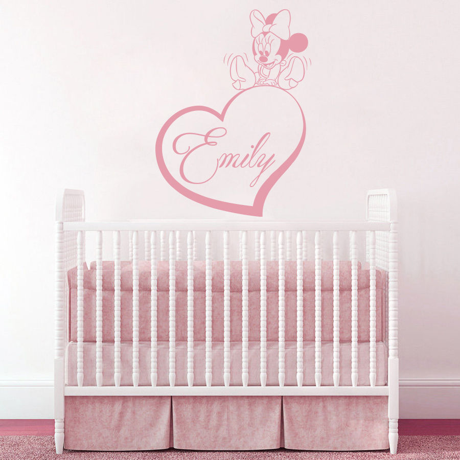 2016 Carton Personalized Name Wall Decal Mickey Mouse Decals Room Girl  Nursery Decor Os1453 Free Shipping