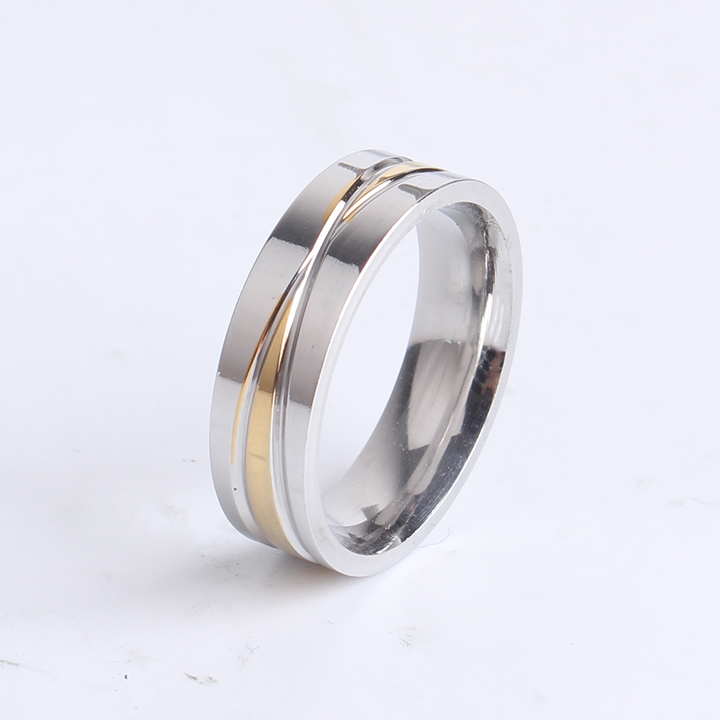 free shipping 6mm gold and silver cross 316L Stainless Steel finger rings for women men  ...