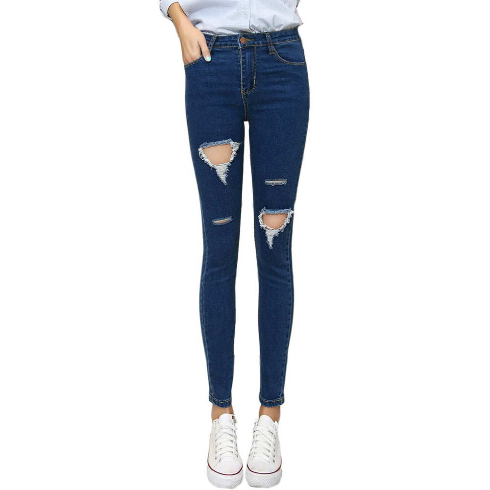 Tengo Women High Waist Denim Jeans Skinny Slim Holes Pencil Pants Femme Sexy Boyfriend Ripped Jeans for Women Distressed jeans woman summer ripped boyfriend jeans for women red lips denim mid waist distressed pencil pants femme casual long pants z15