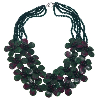 2018 Sell like Hot Natural Stone Zoisite Bead Flower Choker Necklace Bridal Jewelry Wedding Gifts Factory Price Bijoux