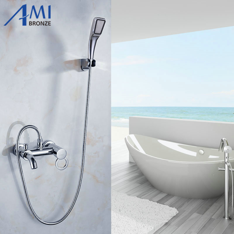 Bathroom Mixer Bath Tub Copper Mixing Control Valve Wall Mounted Shower Faucet concealed faucet antique red copper handheld shower head bath tub mixer tap wall mounted bathroom dual cross handles faucet wtf803