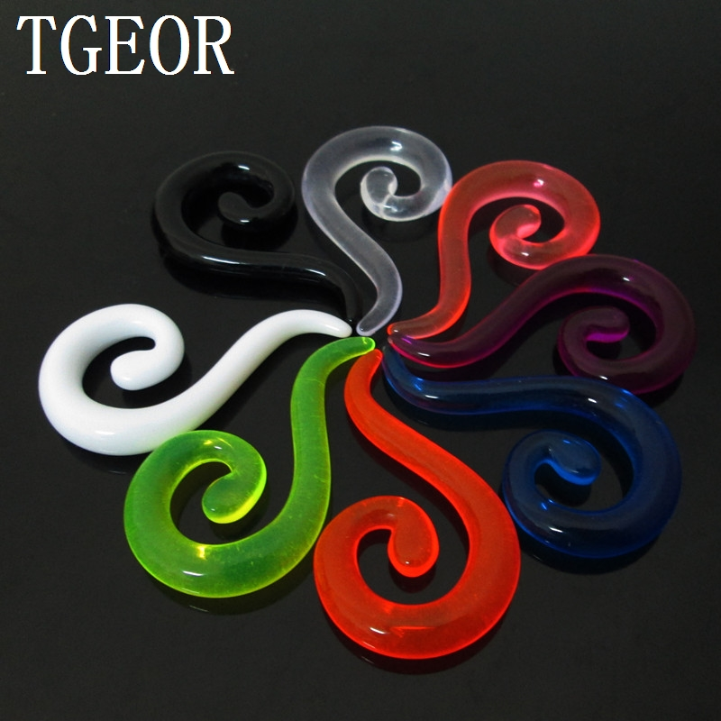 Body jewelry 1 Pair mixed 6 gauges colors question mark spiral ear expander UV acrylic ear taper NEW ARRIVAL