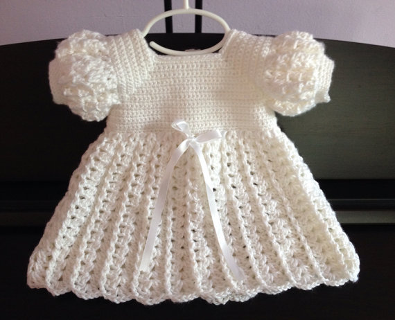 Crochet Baby Dress, Baptism Blessing Christening