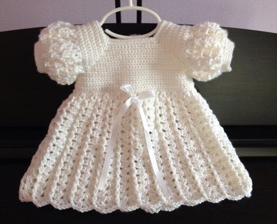 Crochet bebé vestido, bautismo bendición bautizo