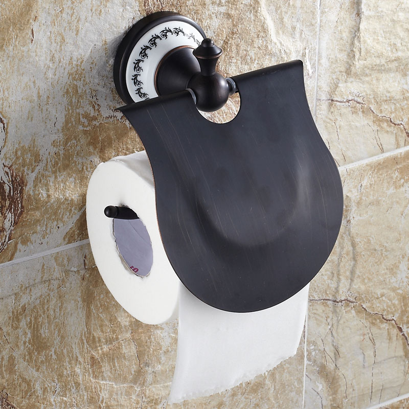 ФОТО Copper black towel rack antique bronze paper holder quality bathroom ceramic series