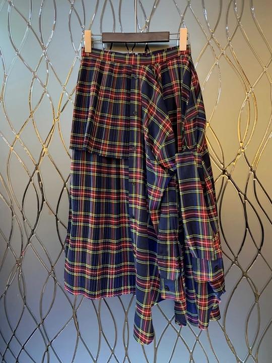 Hiver 2018 De Vêtements Skirt1106 Couture Automne Décoration Irrégulière Couleur Multi Correspondant Motif Femmes Milieu Longueur qqfATUr5