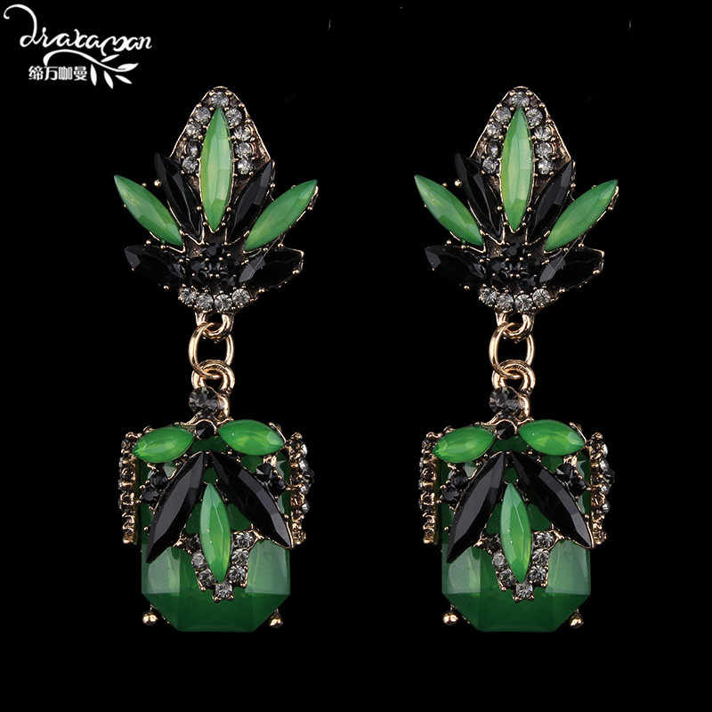 Dvacaman Brand 2017 Boho Style Green Rhinestone Earring Long Big Drop Earrings Party Statement Earrings Women Jewelry Bijoux R16