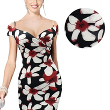 Sexy Elegant Women Off-Shoulder Floral Pencil Dress Formal Evenning Party Bodycon Dress