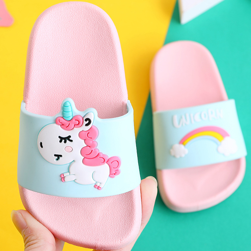 Kids Slippers For Boy Girl Rainbow Shoes 2019 Summer Toddler Animal Kids Indoor Baby Slippers PVC Cartoon Kids Slippers