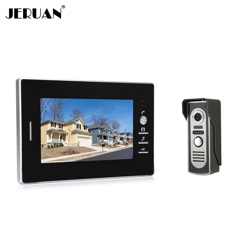 JERUAN Brand New 7`` color screen video doorphone sperakerphone intercom  system 1 monitor + 700TVL COMS camera In Stock