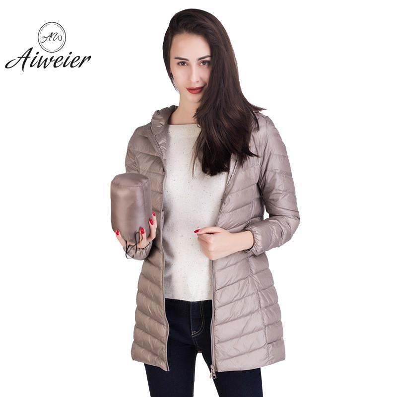 [Aiweier]New Womens Ultralight   Down   Jackets Hooded Zipper Long Nylon Jackets White Goose   Down     Coats   Winter For Girls AL2105