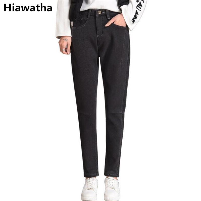 Hiawatha Winter Thick High Waist Jeans Womens Fleece Harem Pants Fashion Warm Pants Jst026 Structural Disabilities Jeans