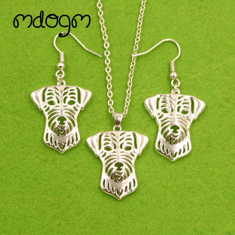 Mdogm Jack Russell Terrier Dog Animal Jewelry Sets Silver Necklace Drop Earrings Pendant For Women Female Wedding Christmas T072