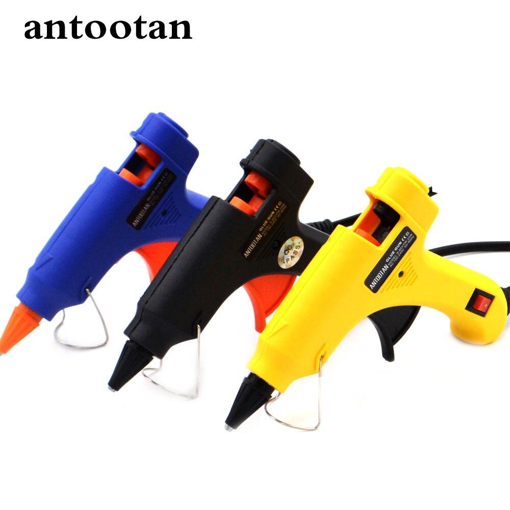20 Вт США/ЕС Plug термоклей пистолет промышленных мини Пистолеты термо-электрический тепла Температура инструмент с бесплатной 2 шт. 7 мм Клей-карандаш