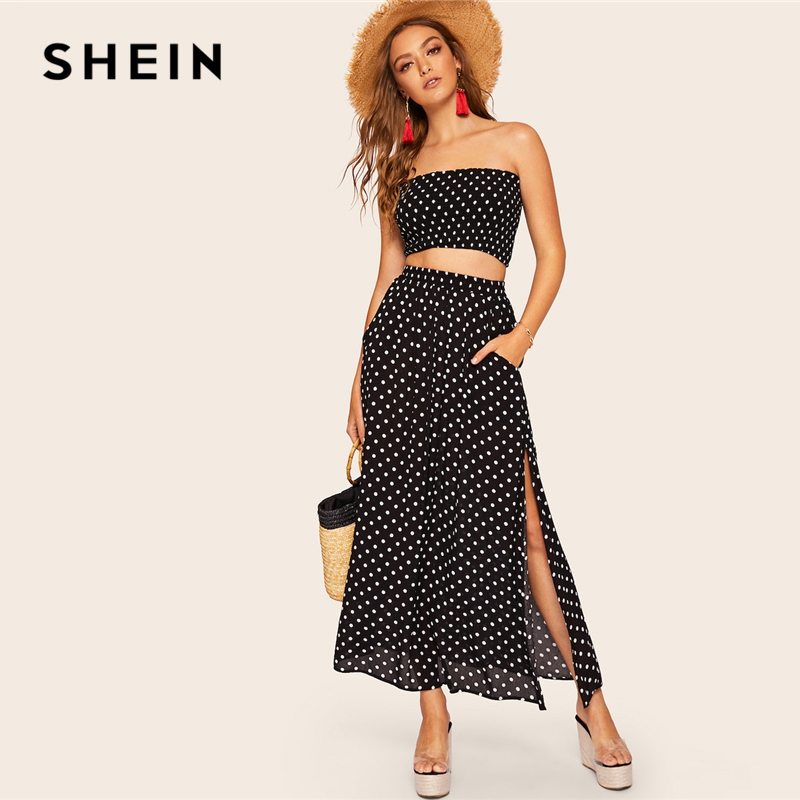 SHEIN Boho Polka Dot Shirred Bandeau Top And Maxi Skirt Set Women Summer HighStreet Black Crop Bandrau Maxi Skirt Twopiece