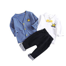 2019 spring childrens clothing girls striped cardigan three-piece treasure long sleeve cotton suit boy clothes