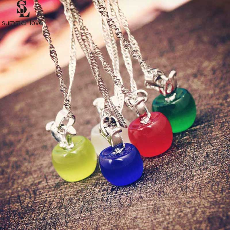 2019 Sweet Pink Apple Pendants Necklace Jewelry White Opal Stone Link Chain Necklace Chokers Fashion Female Gift Collier Femme