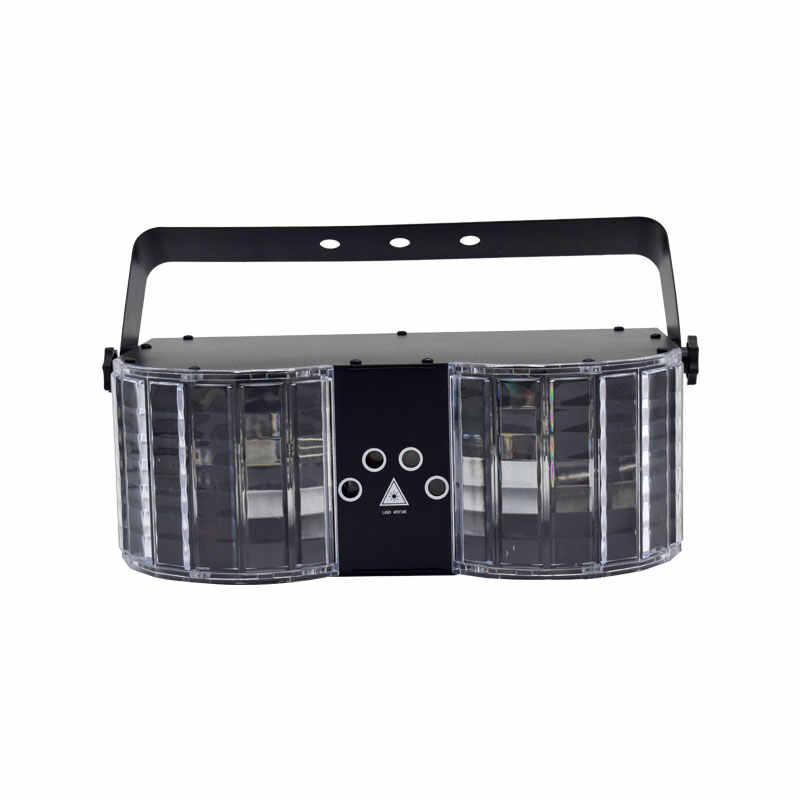 YSH Светодиодный Лазерное освещение для дискотеки DMX контроллер диджей Вечерние огни двойная зеркало с 4 дырочками Лазерное освещение в виде бабочки для оформления сцены