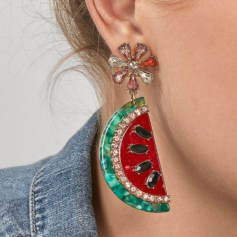 Boucles d'oreilles goutte de pastèque en cristal brillant pour les femmes accessoires de bijoux de mode