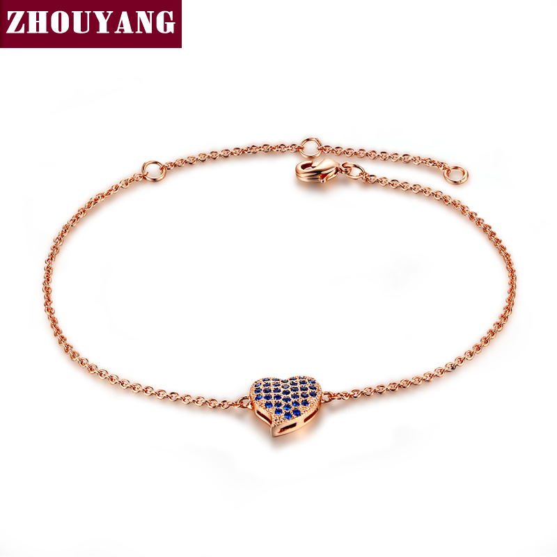 Three Color Micro insert technology Heart Rose Gold Color Bracelet Jewelry Austrian Crystals Wholesale ZYH188 ZYH190 ZYH191