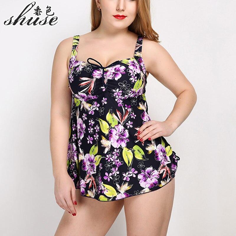 Боди размера плюс, Цельный купальник, большой размер, цветочный принт, открытая спина, монокини, для больших женщин, цельное платье для плава