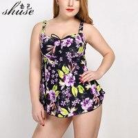 Plus Size Bodysuits One Piece Swimsuit Large Size Floral Print Backless Monokini Big Women One Piece Swimming Dress Beach Wear