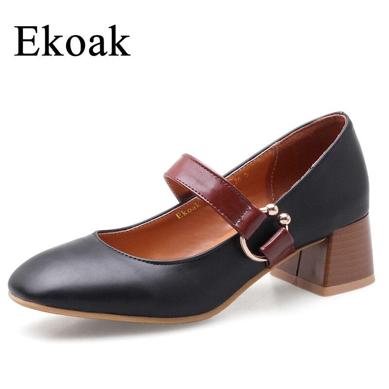 Ekoak New 2018 Fashion Women Pumps Spring Women High Heels Party Shoes Woman Metal Buckle Ladies Mary Janes Shoes loslandifen mary janes women pumps new