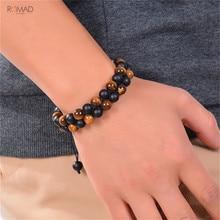 цены на Romad Black Adjustable Tiger Eye Double Row Bracelet Natural Stone Beaded Bracelet For Men Women Jewelry  в интернет-магазинах