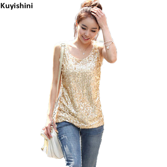a98c7cf199a Korean Women Sequins Top Summer Plus Size 4XL 3XL Gold Sequined Bling Woman Sleeveless  Tops Basic T shirts Casual Camisole