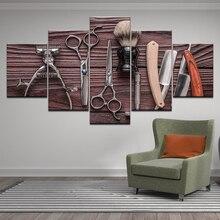 цена 5 Panel Hairdressing Tools Scissors razor Beauty Styling Tool HD print Canvas Painting On Wall Art Picture barbershop Home Decor онлайн в 2017 году